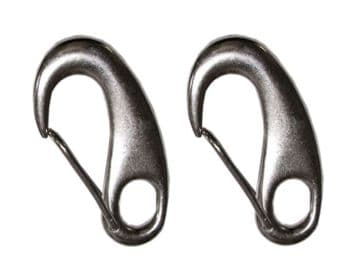 2 x TACK SPRING SNAP HOOKS WITH EYE - STAINLESS STEEL - 70mm marine clip hook